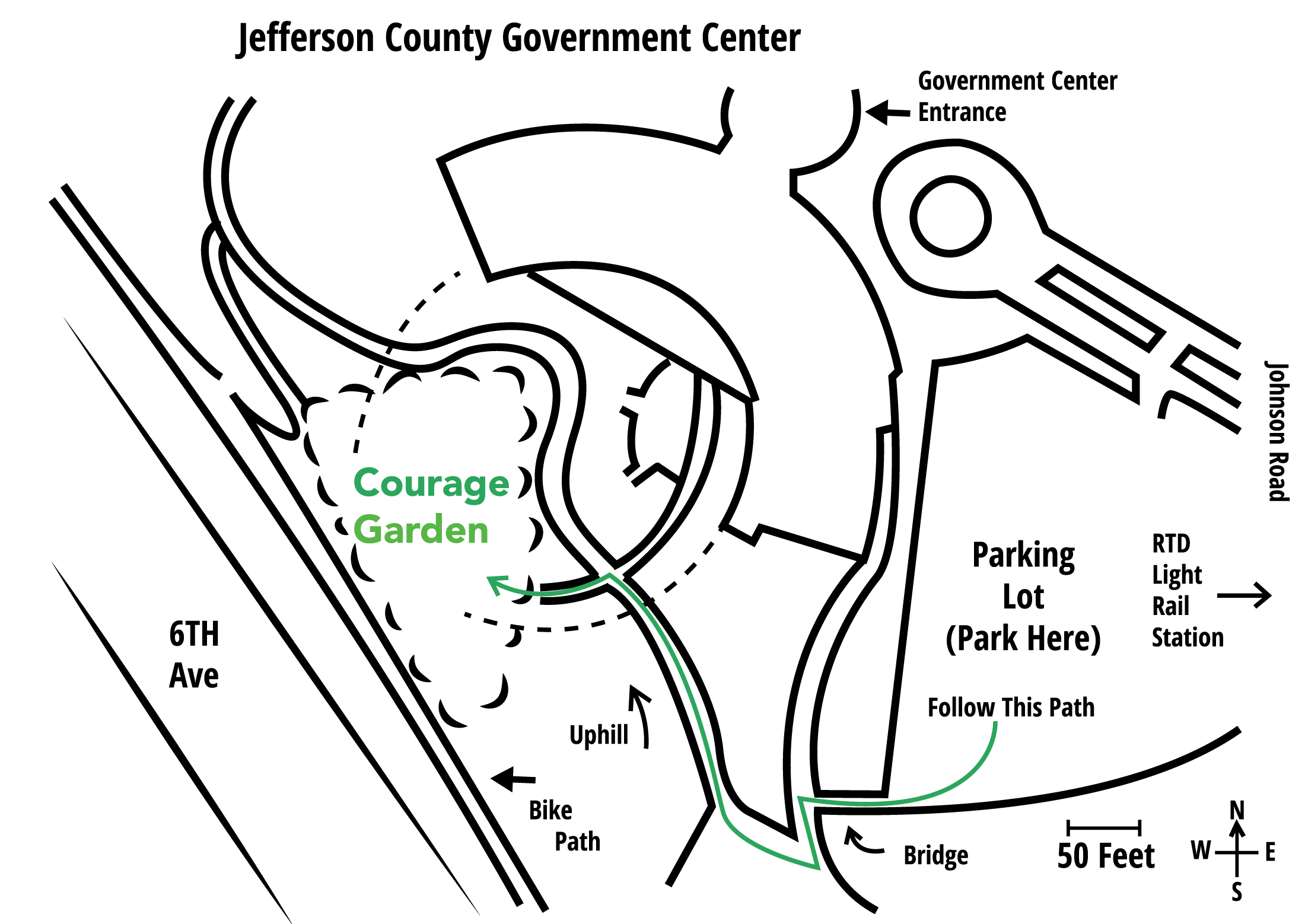 Wide angle map of the Jefferson County Courage Garden